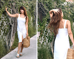 Kaya Peters - White Summer Dress, Rattan Tote Bag - White Dress