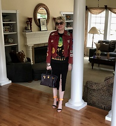Shannon D - Vintage Burgundy Denim Jacket With Patches, Nicholas Kirkwood Heels, Vintage Bob Marley Tee, Miu Skirt With Slit, Chloé Sunglasses, Hermès Bag - Vintage Bob Marley T-shirt