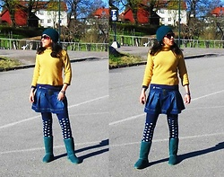 Nikolatina - Zara Kids Skater Denim Miniskirt, Handmade Primrose Yellow Turtleneck, Calzedonia Polka Dots Socks, Hugg Green Boots - It feels like a year