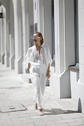 Anna Borisovna - Liviana Conti Shirt, Liviana Conti Pants, Mango Sandals, Céline Sunglasses - All in White