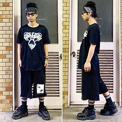 @KiD - Suicidal Tendencies Bandanna, Ghostmane Tee, Komakino Sweat Shorts, Baffalo Platform - JapaneseTrash572