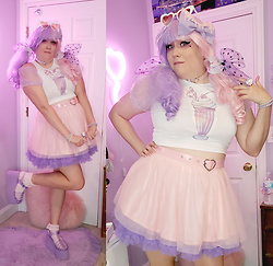 PastelKawaii Barbie - Handmade Milkshake Crop Top, Dolls Kill Heart Belt Pink Tulle Skirt, Dolls Kill Heart Buckle Jelly Purple Platforms, Dolls Kill Polka Dot Sheer Bows, Dolls Kill Lavender Sheer Ruffle Top - 🍨Cotton Candy Milkshake🍨