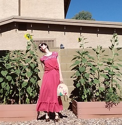 Saguaro Style - Ae Outfitters Peasant Blouse, Anthropologie Prairie Skirt, Kate Spade Cactus Backpack, Sven Clogs Bronze Lacy - 06.10.20