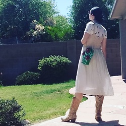 Saguaro Style - Fox's Designer Smocked Dres, Betsey Johnson Cactus Bag, Corral Cactus Cowboy Boots - SAGUARO STYLE 06.12.20