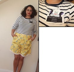 Selina M - Marks & Spencer Striped Top, Haotivi Floral Shorts - Basin street blues
