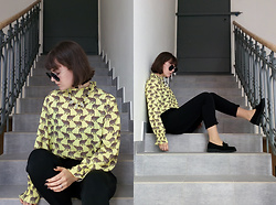 Hypersensitive M. - Thrifted Leopard Shirt, Thrifted Loafers, Thrifted Carrot Trousers, Thrifted Crystal Necklace - Iced coffee lemonade