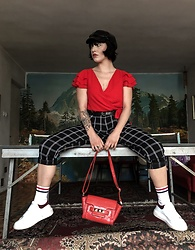 Weronika Bukowczan - River Island Checkered Pants, Red Ruffle Wrap Crop Top, Red Studded Bag, White Trainers, Primark Stripy Socks, Black Baker Boy Hat - Sporty | IG: @vintageshadeson