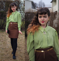 Siri ♧ - Vintage Blouse, Vintage Golden Belt, Vintage Skirt - Lime blouse