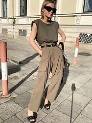 Anna Borisovna - Mango Top, Massimo Dutti Belt, Mango Pants, Mango Shoes - The Khaki Look