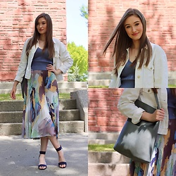 Taylor Doucette - Wilfred Knit Tank, Wilfred Pleated Floral Midi Twirl Skirt, White Mountain Navy Heeled Sandals, Zara White Denim Jacket, Allsaints Green Tote - If It Makes Your Happy - Calan Mai