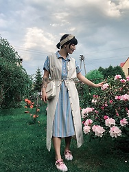 Weronika Bukowczan - Maxi Linen Ivory Button Up Dress, Vintage Multicoloured Pinstripe Midi Dress, Vintage Off White Leather Bag, Asos Pink Velvet Shoes, Vintage Cream Scarf - Dress On Dress