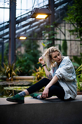 Kelly Doll - Underground Green Creepers, Levi's® Black Jeans, Vinokilo Vintage Jacket - Tropical feelings
