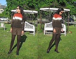 Nikolatina - Gamboa Alpaca Peruvian Sweater,, Bb Dakota Faux Leather Shorts, H&M Brown Tights, Vicar Moccasins - Pumpkin spice sun
