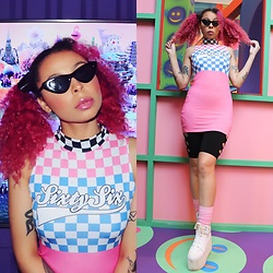 Shady Kleo - Jaded London Pastel Check Dress, Cyberdog Cycle Shorts, Yru White Qozmos, Triangle Shades - Sixty Six