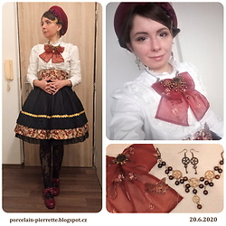 Pierrette - Porcelain Doll Skirt, Gabrielle Taroka Steampunk Necklace - Outfit for a tea party!