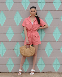 Raspberry Jam - Boohoo Pink Utility Romper, Shein Straw Bag, Urbanog Quilted Mules - Pink Utility Romper