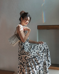 Amanda Olivia L. - Charles And Keith Bag, Love Bonito Printed Dress - Summer prints