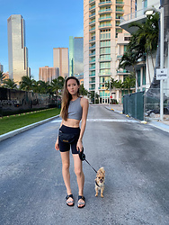Nicole Plunkett - Lululemon Leggings, Salvatore Ferragamo Sandals, Moschino Belt Bag - Work, Gym, & Walk Pumpkin | Nicole Plunkett