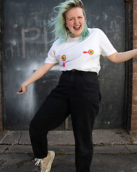 Izzy McLeod - Hand Made Tassel Tee, Braderie Vintage Black Mom Jeans, Sue Ryder Nottingham See Through Platforms - Rainbow Tassels!