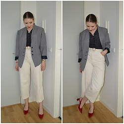 Mucha Lucha - Second Hand Blazer, Second Hand Blouse, H&M Belt, H&M Trousers, Zara Heels - More classic