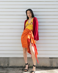 Gi Shieh - Raided Mom's Closet Red Cardigan, Old Fast Fashion Yellow Floral Dress, Raided Mom's Closet Orange Scarf, Old Fast Fashion Black Sandals - Warm tones for summer