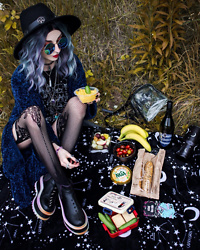 Kimi Peri - Uniwigs Gradient Hair, Killstar Omen Sigil Fedora Hat, Suspender Tights, Moss Copenhagen Cardigan, Supergeek Animal Crossing Tee, Koi Footwear Lauraum Rainbow Spiked Boots, You Are My Poison Blue Glasses, Acid Queen Jewelry Amethyst Necklace - A Witch's Weekend Picnic 🧺🌿🔮✨