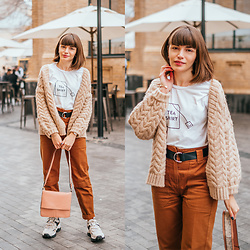 Christina & Karina Vartanovy - Chic Wish Chunky Cardigan In Sand, Zaful Cute Print White T Shirt, Bershka Belted Cargo Trousers In Brown, Asos Shoulder Bag With Wide Snake Detail, Stradivarius Leopard Backed Trainers In Multi - Christina // old friends