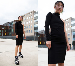 RuiJun L - Femme Luxe Finery Black Dress, Aliexpress Platform Sneakers - LITTLE BLACK DRESS