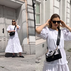 Zuza - Asos Dress, Zalando Bag, Zara Sunnies, Zara Loaffers - White dress- my must have for Summer