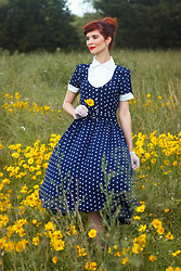 Bleu Avenue Ofbleuavenue - Unique Vintage I Love Lucy X Navy & White Polka Dot Ricardo Swing Dress - I Love Lucy Dress