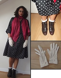 Selina M - Swapped Polka Dot Dress, A Present Pink Scarf, Monki Polka Dot Sheer Socks, Dune Burgundy Brogues, Vintage Gloves - Multi-use style