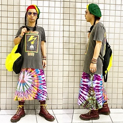 @KiD - Bob Marley Rasta Beret, Obey Bad Brains, Obey Neon Bag, Dr. Martens 10holes - JapaneseTrash578