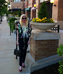 Shannon D - Meghan Fabulous Silk Top, Chanel Bag, Oliver Peoples Sunglasses, A.P.C. Denim - Silk & Denim