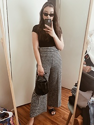 Haley D. - Forever 21 Black Rib Bodysuit, Zara Trousers, Mango Leather Bag, Shein Sandals, Shein Sunglasses - Black & white