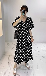 Miamiyu K - Miamasvin Polka Dot Bishop Sleeve Dress | $ 28.90 - Top Spot