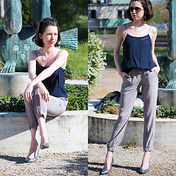 Claire H - Mango Camisole, Liebeskind Berlin Silk Pants, Högl Heels, Tiffany & Co. Sunglasses - Pretty in silk