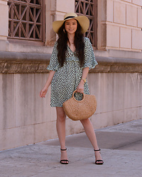 Raspberry Jam - Target Straw Summer Hat, Boohoo Mint Dalmatian Dress, Shein Straw Bag, Target Strap Sandals - Mint Dalmatian Dress