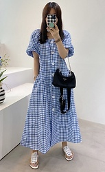 Miamiyu K - Miamasvin Puffed Sleeve Gingham Check Dress | $33.10 - Gingham Club