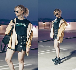 Vlada Kozachyshche - Ohueno Rain Coat, Thrasher T Shirt, Stradivarius Skirt Shorts, Bershka Earrings, Nike Sneakers, Miniso Backpack - In Case of a Rainy Day
