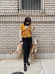 Lily G - American Eagle Outfitters Curvy Highest Waist Jean, Mango Heels, Target Crop Top - Quarantine walks