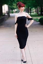 Bleu Avenue - Femmeluxe Black Bardot Cowl Neck Ruched Midi Dress Malia - Little Black Bardot Dress