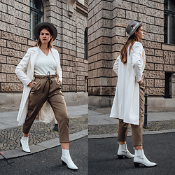 Jacky - Asos Hat, Mango Coat, Mango Shirt, Topshop Pants, Topshop Boots - White Coat, Brown Pants, White Boots