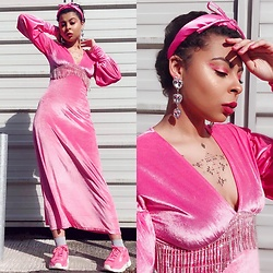 Shady Kleo - Asos Pink Dress, Puma Trainers, Asos Bow Headband, Asos Heart Drop Earrings - Pink Velvet