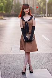Bleu Avenue Ofbleuavenue - Rock Steady Tan Black Sailor Swing Dress, Shein Glitter Envelope Clutch, Natuloth Fresh Water Dangle Pearl Earrings - Vintage Sailor Style