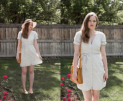 Emily S. - Abercrombie & Fitch Gingham Dress, Lamar Woven Sandals, Abercrombie & Fitch Shoulder Bag - Gingham in Green