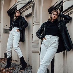 Jacky - Topshop Jacket, Asos Sweater, Mango Pants, Omoda Boots - Leather Shirt and white Jeans