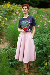 Bleu Avenue - Out Of Print Puffin In Bloom Anne Green Gables Tee, Chic Wish Live For Now Skirt - Puffin in Bloom Tees