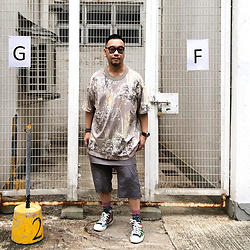 Mannix Lo - Fear Of God Oversize Floral Print Tee, Rick Owens Layered Shorts, Converse Floral Print Chuck Taylor Sneakers - Time is non refundable. Use it with intention