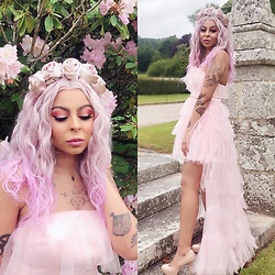 Shady Kleo - Asos Rose Headband, Dolly & Delicious Pink Tulle Dress, New Look Nude Heels - Brighter Times Ahead