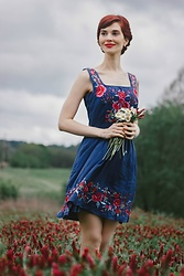 Bleu Avenue Ofbleuavenue - Esley Judy Blue Skies Embroidery Dress - Judy Blue Skies Boho Embroidery Dress